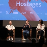 Cast and crew of the film HOSTAGES, Competition Programme Press Conference, Competition Programe - Feature Film, National Theatre, 23. Sarajevo Film Festival, 2017 (C) Obala Art Centar