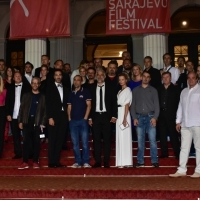 Cast and crew of the film MEN DON'T CRY, Competition Programe - Feature Film, Red Carpet, National Theatre, 23. Sarajevo Film Festival, 2017 (C) Obala Art Centar