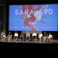 Cast and crew of the film GRAIN, Competition Programme Press Conference, Competition Programe - Feature Film, National Theatre, 23. Sarajevo Film Festival, 2017 (C) Obala Art Centar
