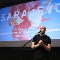 Director Joshua Oppenheimer, Programme opening DEALING WITH THE PAST and TRIBUTE TO Joshua Oppenheimer, THE ACT OF KILLING, Meeting Point Cinema, 23. Sarajevo Film Festival, 2017 (C) Obala Art Centar