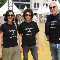 Jury of the 23rd SFF: Actress Melisa Sözen, Director Michel Franco (President of the Jury), and Artistic Director of EIFF Mark Adams in love with Agnes B. T-shirts, 23. Sarajevo Film Festival, 2017 (C) Obala Art Centar