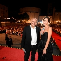 Mirsad Purivatra, Sarajevo Film Festival director and actress Amila Terzimehić, host of the opening ceremony of the 23rd Sarajevo Film Festival, Open Air, Raiffeisen Open Air Cinema, 23rd Sarajevo Film Festival, 2017 (C) Obala Art Centar