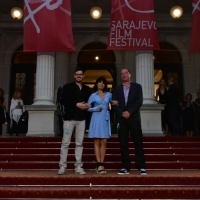 Boaz Frankel, Teona Strugar Mitevska and Guillaume De Seille, Members of Jury of the Competition Programme – Student Film, Red Carpet, National Theatre, 23. Sarajevo Film Festival, 2017 (C) Obala Art Centar