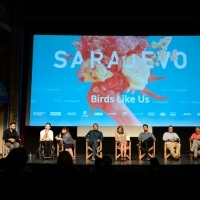 Cast and crew of the film BIRDS LIKE US, Competition Programme, Out of Competition - Feature Film, National Theatre, 23. Sarajevo Film Festival, 2017 (C) Obala Art Centar