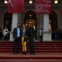 Igor Drljača, Milica Tomović and  Florian Weghorn, Members of Jury of the Competition Programme – Short Film, Red Carpet, National Theatre, 23. Sarajevo Film Festival, 2017 (C) Obala Art Centar