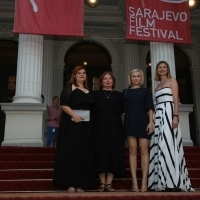 Crew of Lemonade and programmer of Competition Programme - Feature Film Elma Tataragić, Red Carpet, 24th Sarajevo Film Festival, 2018 (C) Obala Art Centar