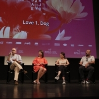 Director Florin Șerban, producer Oana Iancu, actress Cosmina Stratan and actor Valeriu Andriuta, Competition Programme Press Conference: Love 1. Dog, National Theatre, 24th Sarajevo Film Festival, 2018 (C) Obala Art Centar