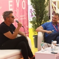Pawel Pawlikowski and moderator Mike Goodridge, Coffee with... Pawel Pawlikowski, Festival Square, 24th Sarajevo Film Festival, 2018 (C) Obala Art Centar