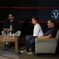 Moderator Robert Zuber, director Anja Kofmel and producer Siniša Juričić, Chriss The Swiss Q&A, Dealing with the Past, Meeting Point, 24th Sarajevo Film Festival, 2018 (C) Obala Art Centar