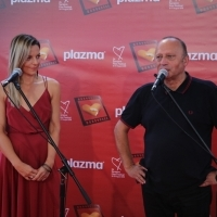 Director of marketing at Bambi Milica Šetka and director of Sarajevo Film Festival Mirsad Purivatra, Plazma Coctail Reception, Festival Square, 24th Sarajevo Film Festival, 2018 (C) Obala Art Centar