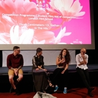 Directors Thomas Rowe, Lara Zeidan and Hamid Ahmadi with moderator Nataša Govedarica, Q&A, Guest Academy: London Film School, Competition Programme - Student Film, out of competition, Art Cinema Kriterion - House of Shorts, 24th Sarajevo Film Festival, 2018 (C) Obala Art Centar