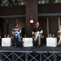 Paula McHarg, Nebojša Taraba, Dalibor Matanić and moderator Andrea Reuter, Case Study: The Paper - The First Show From The Region Sold to Netflix, CineLink DRAMA / MIDPOINT TV Launch, Hotel Europe - Atrium, 24th Sarajevo Film Festival, 2018 (C) Obala Art Centar