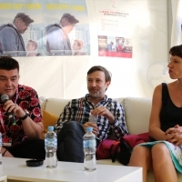 Actors Aleksandar Seksan and Senad Alihodžić and casting director Timka Grin, Press junket, Avant Premiere: Good Day's Work, Telemach Lounge, Festival Square, 24th Sarajevo Film Festival, 2018 (C) Obala Art Centar