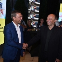 CEO & chairman of the management board at Raiffeisenbank BiH Karlheinz Dobnigg and director of Sarajevo Film Festival Mirsad Purivatra, Raiffeisen Coctail Reception, Hotel Bosnia - Garden Umbrella, 24th Sarajevo Film Festival, 2018 (C) Obala Art Centar