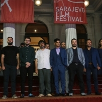 Crew of The Pigeon Thieves with Elma Tataragić, programmer of the Competition Programme - Feature Film, Red Carpet, 24th Sarajevo Film Festival, 2018 (C) Obala Art Centar