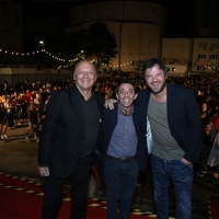 Mirsad Purivatra with actors Marcello Fonte and Edoardo Pesce, Dogman, Raiffeisen Open Air Cinema, 24th Sarajevo Film Festival, 2018 (C) Obala Art Centar