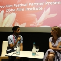 Khalifa Al-Marri and moderator Bianca Lucas, Sarajevo Film Festival Partner Presents: Doha Film Institute, Cinema City, 24th Sarajevo Film Festival, 2018 (C) Obala Art Centar