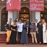Crew of The Load with Elma Tataragić, programmer of the Competition Programme - Feature Film, Red Carpet, 24th Sarajevo Film Festival, 2018 (C) Obala Art Centar