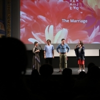 Moderator Nataša Govedarica and actors Genc Salihu, Alban Ukaj and director Blerta Zeqiri, The Marriage, In Focus, National Theatre, 24th Sarajevo Film Festival, 2018 (C) Obala Art Centar