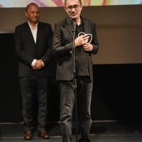 Mirsad Purivatra and Nuri Bilge Ceylan, Recipient of Honorary Heart of Sarajevo, Opening Ceremony, National Theatre, 24th Sarajevo Film Festival, 2018 (C) Obala Art Centar