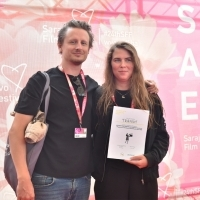 Domien Huyghe and Melissa Dhondt, winners of Midpoint's Art Department Masterclass Award, Partner's Awards, Festival Square, 24th Sarajevo Film Festival, 2018 (C) Obala Art Centar