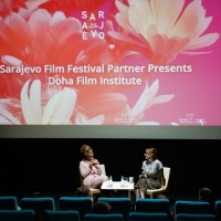 Director of Sofia Meryem Benm'Barek and moderator Bianca Lucas, Sarajevo Film Festival Partner Presents: Doha Film Institute, Cinema City, 24th Sarajevo Film Festival, 2018 (C) Obala Art Centar