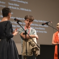 Director Milorad Krstić and scriptwriter Radmila Roczkov, Q&A after the screening of Ruben Brandt, Collector, In Focus, National Theatre, 24th Sarajevo Film Festival, 2018 (C) Obala Art Centar