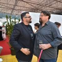 Filmmakers Robert Zuber and Pjer Žalica, Awards Ceremony Warm-up Drink, Festival Square, 24th Sarajevo Film Festival, 2018 (C) Obala Art Centar