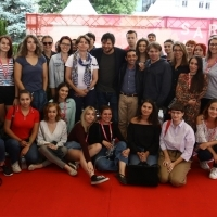 Actors Edoardo Pesce and Marcello Fonte and casting director Francesco Vedovati with I <3 FILM club, Festival Square, 24th Sarajevo Film Festival, 2018 (C) Obala Art Centar