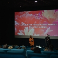 Moderator Rada Šešić and Talal Derki, Sarajevo Film Festival Partner Presents: Doha Film Institute, Cinema City, 24th Sarajevo Film Festival, 2018 (C) Obala Art Centar