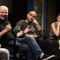 Producer Lasha Khalvashi, actor George Bochorishvili and actress Ia Sukhitashvili, Competition Programme Press Conference: Horizon, National Theatre, 24th Sarajevo Film Festival, 2018 (C) Obala Art Centar