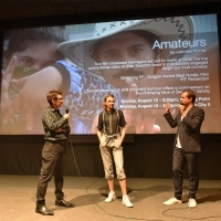 Programmer of Kinoscope Alessandro Raja with director of Amateurs Gabriela Pichler and director of photography and editor Johan Lundborg, Q&A session, Meeting Point, 24th Sarajevo Film Festival, 2018 (C) Obala Art Centar