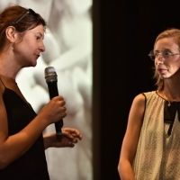 Director Anja Kofmel and Kinoscope programmer Mathilde Henrot, Chriss The Swiss Q&A, Kinoscope/Dealing with the Past, Meeting Point, 24th Sarajevo Film Festival, 2018 (C) Obala Art Centar
