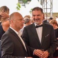 Director of Sarajevo Film Festival Mirsad Purivatra and Minister of Culture and Sports of the Sarajevo Canton Mirvad Kurić, Welcome Drink, Festival Square, 25th Sarajevo Film Festival, 2019 (C) Obala Art Centar