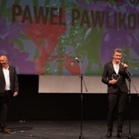 Director of Sarajevo Film Festival Mirsad Purivatra and Pawel Pawlikowski, Recipient of Honorary Heart of Sarajevo, Opening Ceremony, National Theatre, 25th Sarajevo Film Festival, 2019 (C) Obala Art Centar