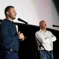 Mayor of the Municipality of Novi Grad Sarajevo Semir Efendić and director of Sarajevo Film Festival Mirsad Purivatra, Screening of The Son, Open Air Cinema at Safet Zajko Center, 25th Sarajevo Film Festival, 2019 (C) Obala Art Centar