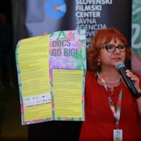 Rada Šešić, programmer of Competition Programme - Documentary Film, Documentary Mixer hosted by Slovenian Film Centre, Festival Square, 25th Sarajevo Film Festival, 2019 (C) Obala Art Centar
