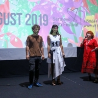 Directors Ljubomir Stefanov and Tamara Kotevska with Competition Programme - Documentary Film programmer Rada Šešić, Honeyland, Cinema City, 25th Sarajevo Film Festival, 2019 (C) Obala Art Centar