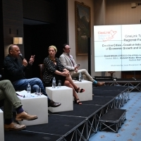 Jovan Marjanović, Mirsad Purivatra, Larisa Halilović and David Wilson, CineLink Talks, Regional Forum, Creative Cities - Creative Industries As Key Drivers of Economic Growth and Urban Development, Hotel Europe Atrium, 25th Sarajevo Film Festival, 2019 (C) Obala Art Centar