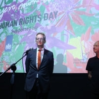 Ambassador of the Kingdom of the Netherlands to Bosnia and Herzegovina Reinout Vos and director of Sarajevo Film Festival Mirsad Purivatra, Human Rights Day Programme Opening, Meeting Point Cinema, 25th Sarajevo Film Festival, 2019 (C) Obala Art Centar