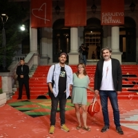 European Short Film jury: Mahdi Fleifel, Maike Mia Höhne and Srđan Vuletić, Red Carpet, 25th Sarajevo Film Festival, 2019 (C) Obala Art Centar