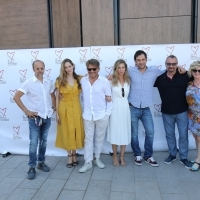 Crew of Black Sun 2 with Avant Premieres Programme Coordinator Tina Hajon, Photo Call, TRT Industry Terrace, Hotel Europe, 25th Sarajevo Film Festival, 2019 (C) Obala Art Centar