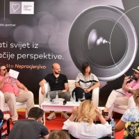 Directors Pjer Žalica and Irfan Avdić, producer Amra Bakšić Čamo and moderator Damir Šehanović, Mastercard Panel Talk - See the World through a Different Lens, Festival Square, 25th Sarajevo Film Festival, 2019 (C) Obala Art Centar