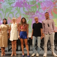 Producer Ana Maria Ivan, actresses Catalin Mihai and Ada Condeescu, actor Gheorghe Visu and director Catalin Mitulescu, Competition Programme Press Conference: Heidi, National Theatre, 25th Sarajevo Film Festival, 2019 (C) Obala Art Centar