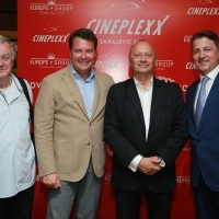 Director of Cineplexx Croatia Enver Hadžiabdić, financial director and managing partner of Cineplexx International Christof Papousek, director of Sarajevo Film Festival Mirsad Purivatra and general director of Europe Group Rasim Bajrović, Cineplexx Opening Announcement, 25th Sarajevo Film Festival, 2019 (C) Obala Art Centar
