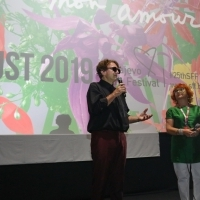Goran Bregović and Competition Programme - Documentary Film programmer Rada Šešić, A Small Documentary Film about 3 Letters, Cinema City, 25th Sarajevo Film Festival, 2019 (C) Obala Art Centar