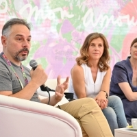 Director Miroslav Terzić, actress Snežana Bogdanović and scriptwriter Elma Tataragić, Coffee With... crew of Stitches, Festival Square, 25th Sarajevo Film Festival, 2019 (C) Obala Art Centar