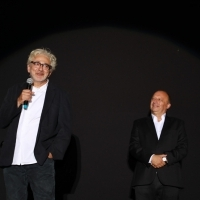 Director and actor Elia Suleiman and director of Sarajevo Film Festival Mirsad Purivatra, It Must be Heaven, Raiffeisen Open Air Cinema, 25th Sarajevo Film Festival, 2019 (C) Obala Art Centar