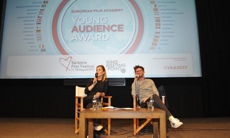 Moderator Emela Burdžović and actor Moamer Kasumović