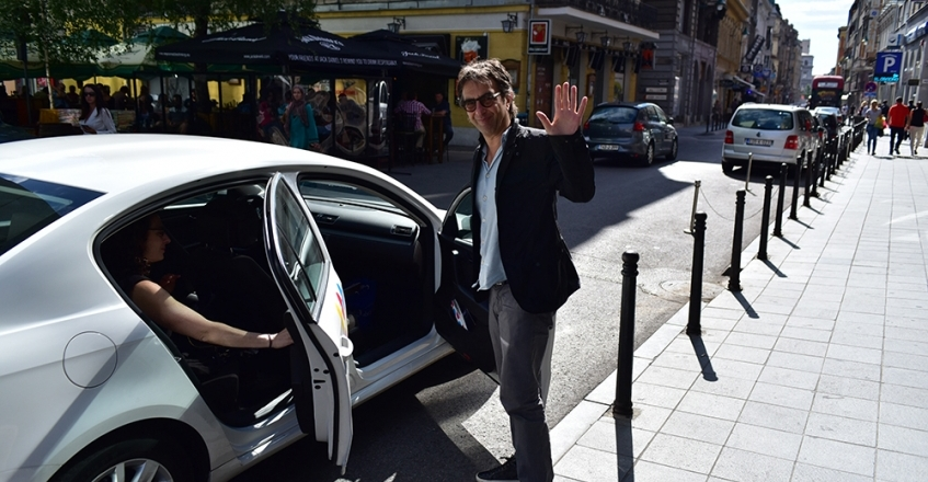 Director Atom Egoyan arrives in Sarajevo